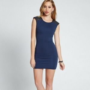 GUESS Quilted Faux Leather Shoulders - Navy Blue